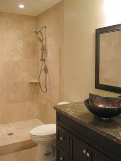 Guest Bathroom with Travertine Shower