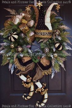"Christmas Wreath-""Harlequin Elf"" from my Petals & Plumes 2010 Hat n' Boots Collection©"