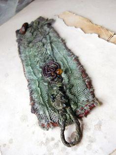 Beaded Fabric Cuff Bracelet  Green Cuff  Muddy by shipwreckdandy, $58.00