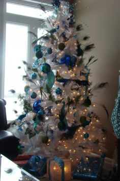 White tree, peacock decorations