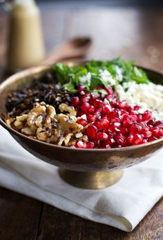 Pomegranate, Kale, and Wild Rice Salad with Walnuts and Feta | pinchofyum.com