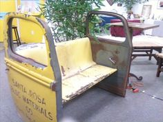 doors, diy ideas, benches, treasur, seat, outdoor chairs, car parts, lions, junk