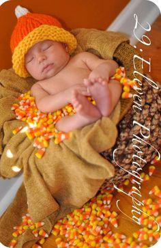 Candy Corn Beanie Hat Handknit Infant Toddler Photo Prop Autumn Orange Halloween Thanksgiving. $9.00, via Etsy.