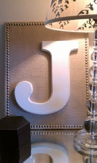 canvas + burlap + wooden letter + nail heads = his and hers bedside art or mantle (last name) decoration