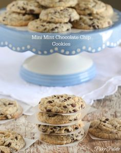 Mini Mint Chocolate Chip Cookies!  Bite size and minty fabulous