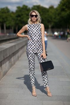 fashion weeks, model, pattern, white pants, street styles, street style fashion, black, print, haute couture