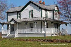 A big country farm house with wrap around porch. Found on Front-Porch-Ideas-and-More.com  #porch