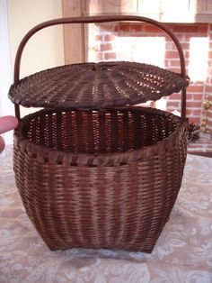 6in tall (lid) 10in tall (handle) Antique American Splint Feather Basket with Attached Cover