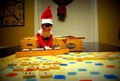 "elf playing scrabble; tiles read ""Santa says hi.""  HAHAHA!"