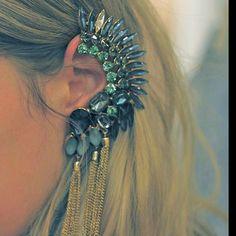 fashion, accessori, chains, ears, ear cuffs, tassel, wedding earrings, feather, blues