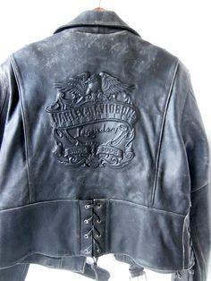 vintage BLACK Leather Harley Davidson Motorcycle jacket