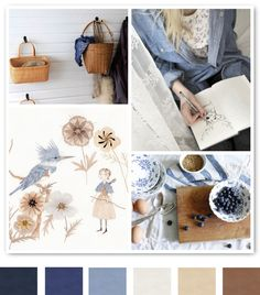 blue and beige