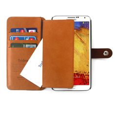 Samsung Galaxy Note 3 Case Italian Wallet Card Pocket Flip Case [Brown]