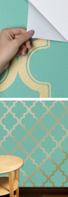 Temporary wallpaper: easily remove and reapply. Such an easy way to make a statement without the mess.