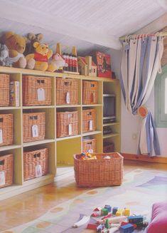 #Cubby #storage with #wicker #baskets keeps things organized & stylish.