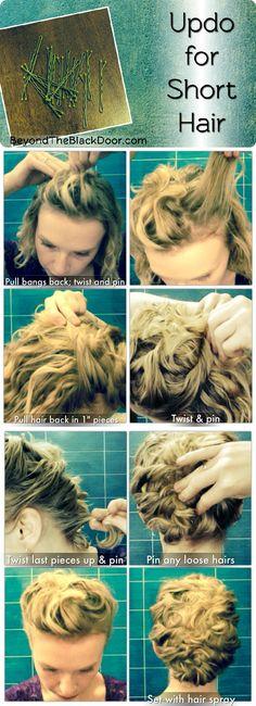 Hair Tutorial Updo for Short Hair Photo Tutorial
