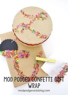 Make simple confetti gift wrap