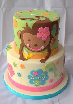 Monkey Birthday Cake - green, blue, and brown are perfect for a gender neutral monkey baby cake