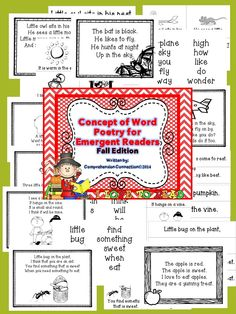 This product includes 16 poems for the Fall to Winter time of year to use with various themes. Each 4-line poem includes the poem written on sentence strips for a pocket chart, in 1/4 pages to teach the poem with pictures, a key vocabulary word list, and a final page that can be projected or printed for students to color and keep for an end of the year book, repeated readings, or to use with parents and classroom volunteers.