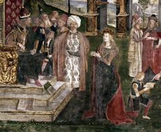 Detail of the dispute of St. Catherine of Alexandria with the philosopher, in front of the Emperor Maxentius (oil on canvas), by Pinturicchio (Bernardino di Betto) (c.1454-1513).