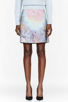 Carven Pink Multicolor Woolen Skirt