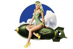 Ftop.ru » Lingerie Girls » blonde, sexy babe, pin up, bombshell, retro, green, uniform, high heels, pout wallpaper