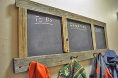 12 Creative DIY Coat Racks • A round-up of some really great coat rack projects with lots of tutorials! Including this diy chalkboard and coat rack project from 'diy pete'.