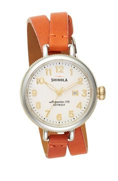 Shinola 'The Birdy' Double Wrap Leather Strap Watch, 34mm Nordstrom
