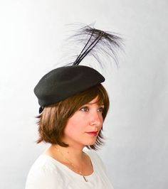 Vintage 1960s Hat Black Beret with Feathers/ by FlatironVintage, $75.00