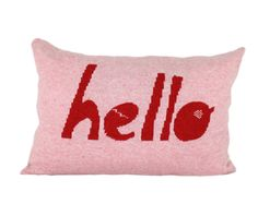 Decorative Pillow -Hello - soft knitted pillow - pink, red, 12x18, includes insert. $79.00, via Etsy.