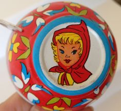 Vintage 1960s Little Red Riding Hood Tin Toy Cup by Ohio Art.