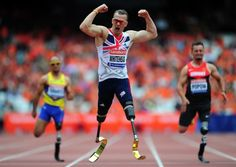 Richard Whitehead (centre) wins the Men's T42 200 metres during the Sainsburys International Para Challenge at the Olympic Stadium, London. Photo: Adam Davy/PA Wire