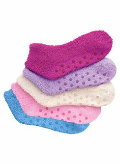 Cozy Gripper Socks at www.amerimark.com Split them up and put a pair in each female's stocking and then give the ones left to two of tween's teachers