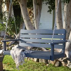 Cape Maye Weathered Porch Swing - Wedgewood Blue
