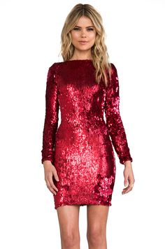 DRESS THE POPULATION Lola Long Sleeve Mini Dress in Ruby