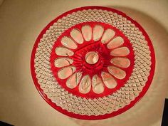 "Westmoreland Wakefield Ruby Stained Glass Pedestal Cake Plate 12"" x 2.75"" EXC!! 
