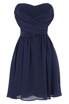 Pretty sweat heart navy dress. Kinda bridesmaidish, but seems like it would flatter thicker girls! Look at that waist!