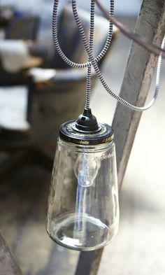 Cloche Lamp - Plümo Ltd  Necesito una botella así para hacer la pantalla de una lámpara