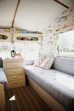 Inside of this little camper!