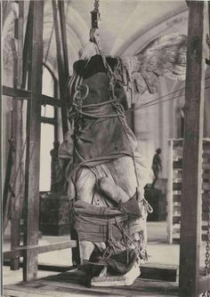 The evacuation of the Winged Victory of Samothrace from the Louvre during World War II.