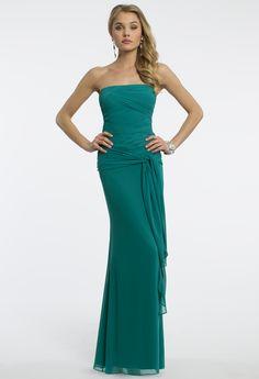 Camille La Vie Chiffon Pleated Prom Dress with Side Drape Detail