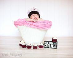 Custom Order Crochet Cupcake Hat photo prop Newborn and Baby Photography props #Snipits #Snipitsink #KradixPhotography
