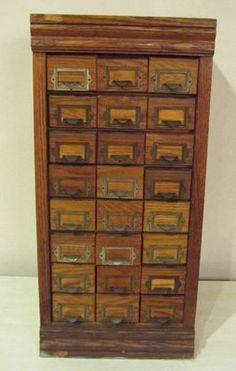 Vintage General Store Wood Tin Seed Cabinet 24 Drawer Chestnut | eBay