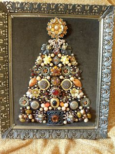 "One-of-a-Kind Framed Vintage Jewelry Art Christmas Tree ""Amber Elegance"" 