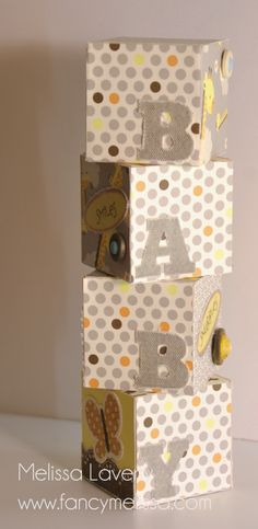 Baby Block Tower Gift Idea for Nursery www.fancymelissa.com #giraffe #elephant #animals #babycakes #ctmh