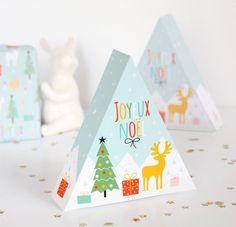 Free Printable Christmas Triangle Gift Box