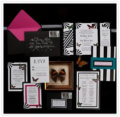 deco invit, deco butterfli, art deco wedding, butterflies, paper, weddings, wedding invitations, deco pink, event invitations