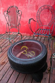 Recycled tire furniture