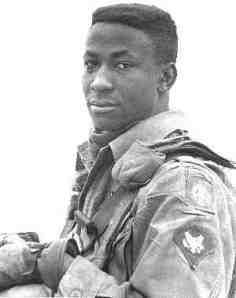 """""""Clifford Chester Sims, a Staff Sergeant in Vietnam, and Medal of Honor recipient. Sims was honored for """"conspicuous gallantry and intrepidity in action at the risk of his life above and beyond the call of duty."""" He threw himself on a triggered booby-trap device, taking the entire blast to save his squad."""""""