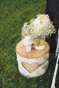 birch heart decor aisle with baby's breath in mason jar